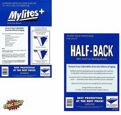 50 Mylites+ SILVER/GOLD Mylar Bags & Half Back Board COMBO 775M+/750HB E.Gerber