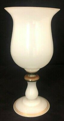 """12"""" Antique White and gilt  opaline footed  vase metal center  WHAT A  BEAUTY"""
