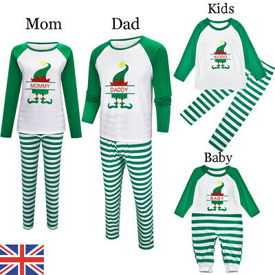 UK Elf Family Matching Adult Kids Christmas Pyjamas Nightwear Pajamas PJs Sets