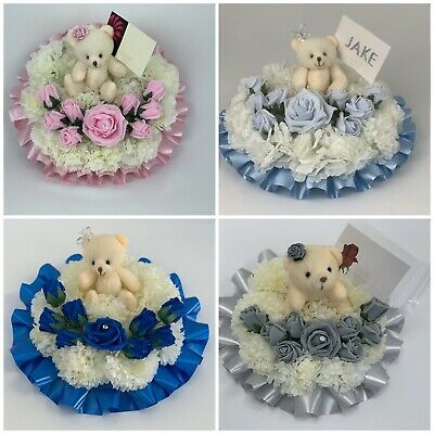 Round Shaped teddy Silk Artificial Funeral Flowers Wreath Memorial Grave Tribute