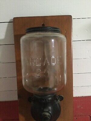 Clean vtg antique Arcade 25 Cast Iron crank coffee grinder A/O No Catch Cup