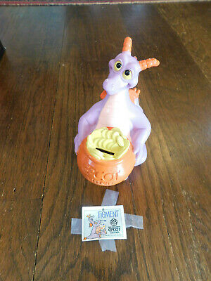 Vtg Walt Disney Purple Figment Dragon Bank Epcot Center w Original Stopper & tag