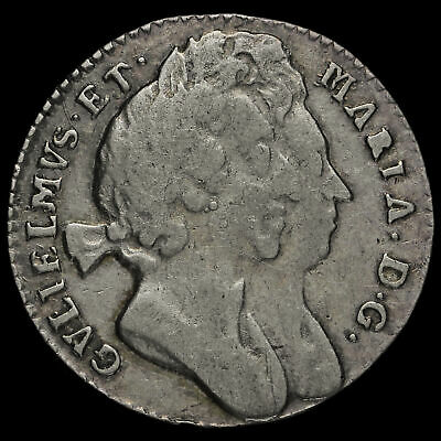 1694 William and Mary Early Milled Silver Maundy Threepence, Scarce