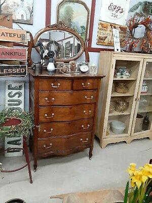 Antique Oak High Boy Dresser With Mirror