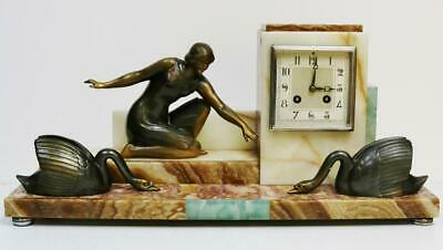 Antique French 8 Day Striking Art Deco Marble, Lady & Swan Figures Mantel Clock