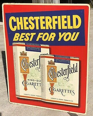 Original 1950s Chesterfield Cigarettes Embossed Metal Large Sign Gas Oil Antique