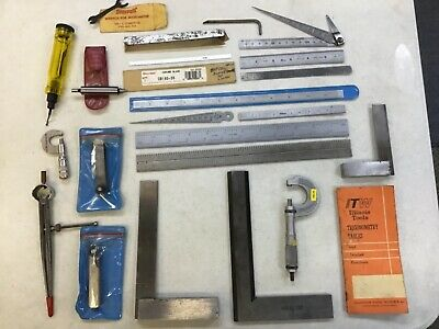 Lot Of Machinist Tools Starrett & More- Micrometers, Rules, Squares