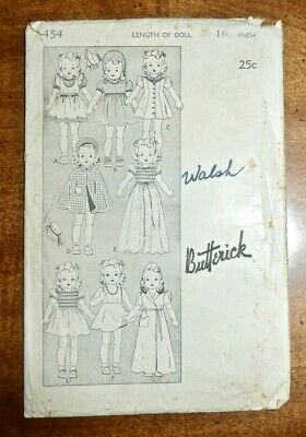 """Antique 1930'S Butterick Sewing Pattern #454 Doll Clothing Wardrobe For 16"""" Doll"""