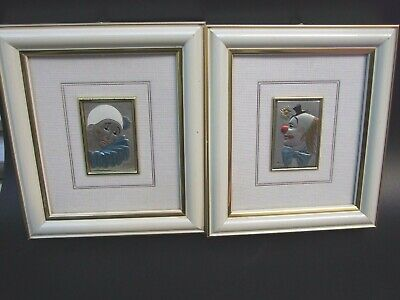 Mida S .Sterling Silver 925 Relief 2X Clowns Framed Pictures Made Italy Vintage.