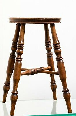 Antique Mid 19th Century Victorian Turned Beech Stool