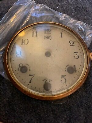 Antique WATERBURY Mantle clock face dial w/bezel glass I2