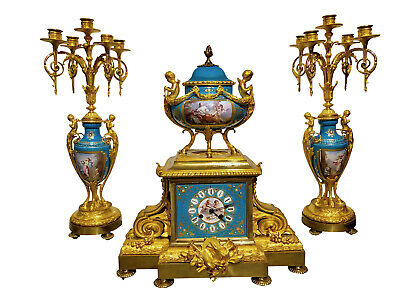 French Ormolu & Sevres Style Jeweled Clock Garniture by Henri Picard & Deniere