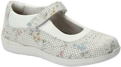 $160 Drew Shoes ROSE Womens 10.5W Mary Janes White Floral Orthotic Diabetic