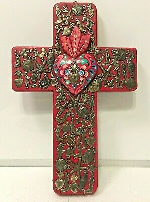"""Mexican Milagros Cross Folk Art Wall Wood Red Heart Miracle Ex Voto 12"""""""