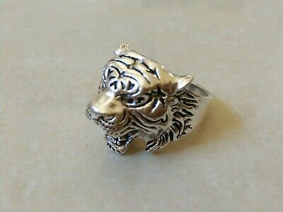 Extremely Ancient Roman Ring Silver Color Tiger Beautiful Artifact Rare Type