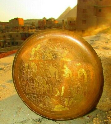 Very old rare Egyptian copper hand painted pharaonic small dishes