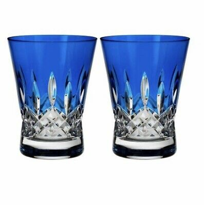 NEW Waterford Lismore Pops COBALT BLUE Double Old Fashioned DOF Pair # 40019536