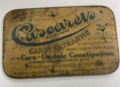 Vintage Antique Cascarets Candy Cathartic Liver Stimulant Tin 1906