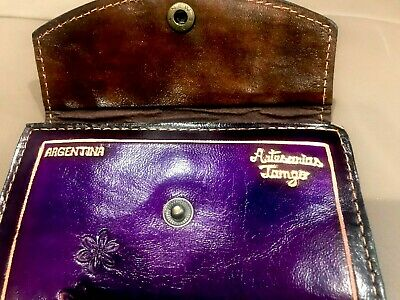Hand Tooled Genuine Hard Leather Wallet Made In Argentina Floral Purple