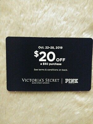 Victoria Secret Pink $20 off a $50 Purchase Coupon Fall Reward Card Oct 22-28