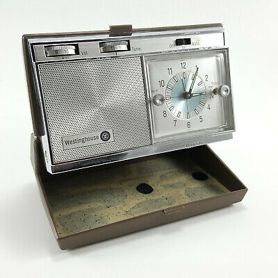1960's Westinghouse H968PLB Travel Alarm Clock With AM Radio-Tested-Works Great