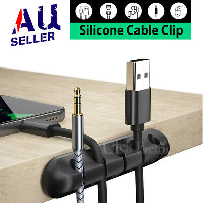 USB Charge Cable Clips Self-Adhesive Desk Cord Management Organizer Wire Holder