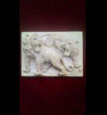 Very Rare Meiji-Period, Handcarved Japanese Bas-Relief Panel With Lions. Signed
