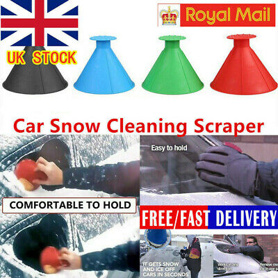 Magical Car Windshield Ice Snow Remover Scraper Tool Cone Shaped Round Funnel^UK