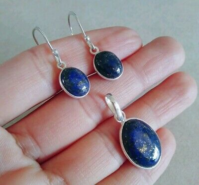 Natural Oval Blue Lapis Lazuli 925 Sterling Silver Pendant Earrings Jewelry Set