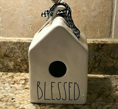 Rae Dunn BLESSED Birdhouse Black & White Plaid Ribbon LL Brand New