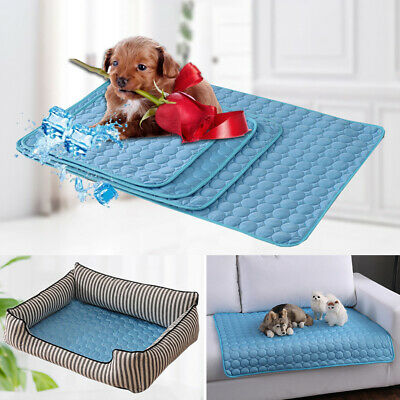 Summer Dog Cat Cooling Bed Pad Chilly Non-Toxic Cushion Pet Ice Silk Mat Comfort