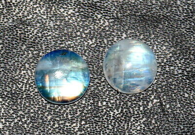 Natural Rainbow Moonstone Cabochon 12 mm Round Shape Matched Pair Loose Gemstone