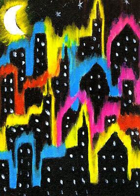 """ACEO Original Painting Collectible Art Card """"Night and the City"""""""