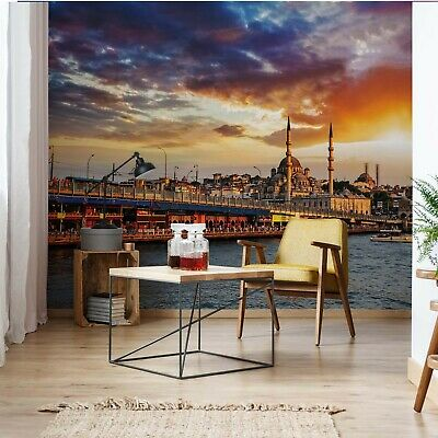 Istanbul City Sunset Photo Wallpaper Wall Mural Fleece Easy-Install Paper