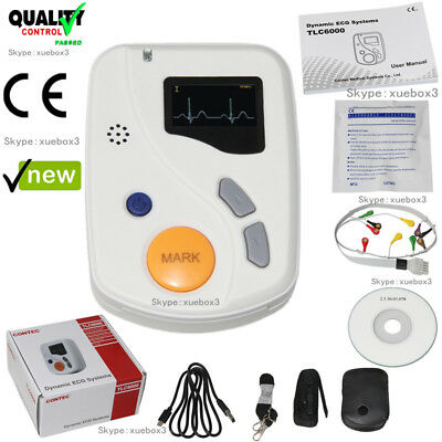 Dynamic 48hours 12 Lead ECG/EKG Holter Monitor Alalyzer Software CONTEC TLC6000