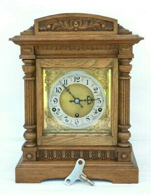 8 Day Large Westminster Chime Golden Oak Bracket Mantle Clock