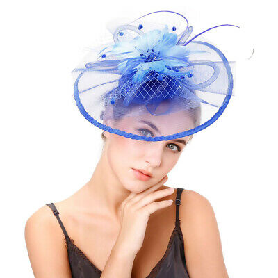 Women Hair Clip Facinator Feather Headwear Veil Mesh Wedding Party Hat Headwear
