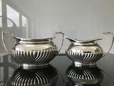 Antique Daniel & Arter Silver Plated Milk Cream Jug and Sugar Bowl - VGC