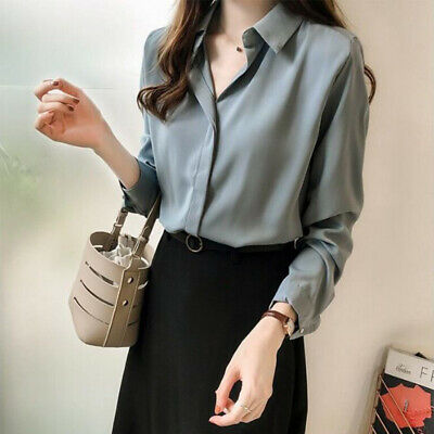 Korean Women V Neck Buttons Solid Chiffon Shirt Loose Casual Slim Top Blouse 3W