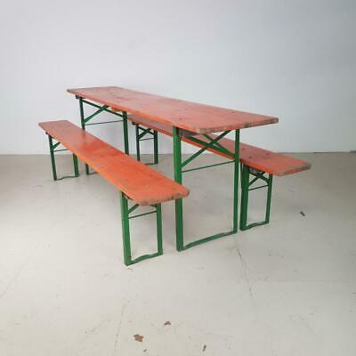 VINTAGE INDUSTRIAL GERMAN BEER TABLE BENCH SET GARDEN FURNITURE BURNT ORANGE
