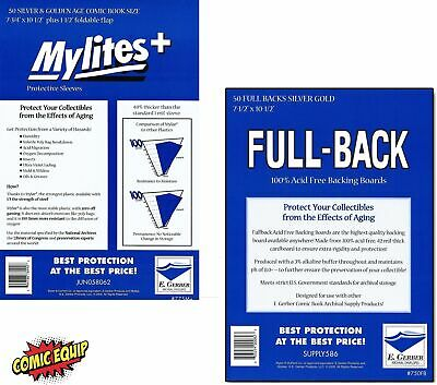 50 Mylites+ SILVER/GOLD Mylar Bags & Full Back Board COMBO 775M+/750FB E.Gerber