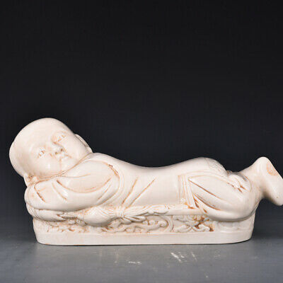 """14.9"""" Old Chinese Antique Porcelain song ding kiln Child Pillow Ceramics Statue"""