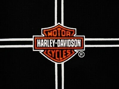 HARLEY DAVIDSON Cotton Quilt Fabric CLASSIC Logo  Allover on Black -  Sm.. FQ
