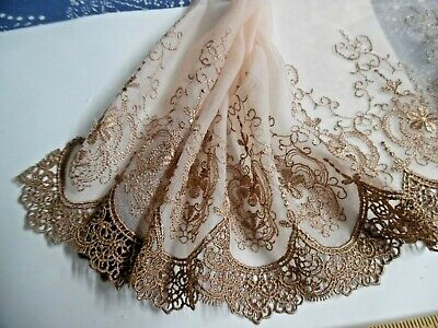 """EMBROIDERED SOFT NETTING~VICTORIAN LOOK~LIGHT BROWN/BLUSH~7""""w~BY THE YARD~DOLL's"""