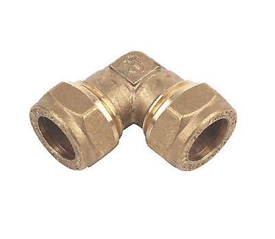 Brass Compression Elbow Bend 15mm - Pack of 10 Plumbing Water Gas