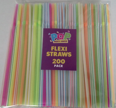 100/200 Neon Coloured  Flexible Bendy Birthday Party Drinking Straw Assorted