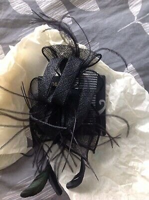 Accessorize Black Fascinator Swirls And Feathers Comb