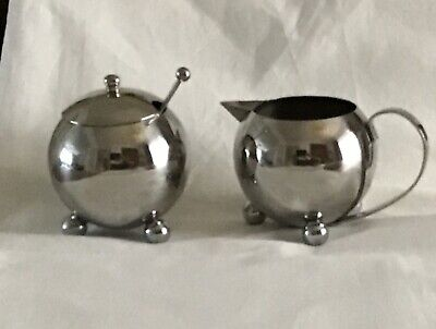 Art Deco Style Stainless Steel Milk Jug & Sugar Bowl with spoon
