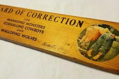 Spanking Paddle Board of Corrections vtg 1950s MI souvenir Victims Sign Here