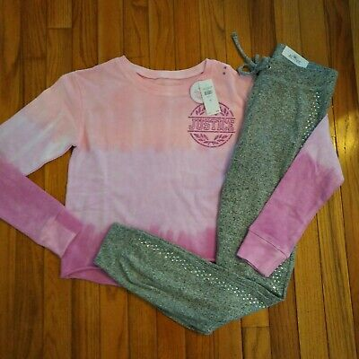 NWT Justice Girls Outfit Hombre Logo Sweatshirt/Embellished Soft Joggers Size 12
